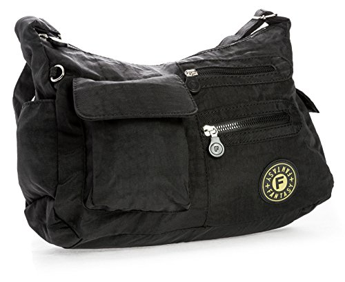 Big Handbag Shop di dimensioni medie borsa a tracolla Unisex in plastica Pouch Nero (nero)