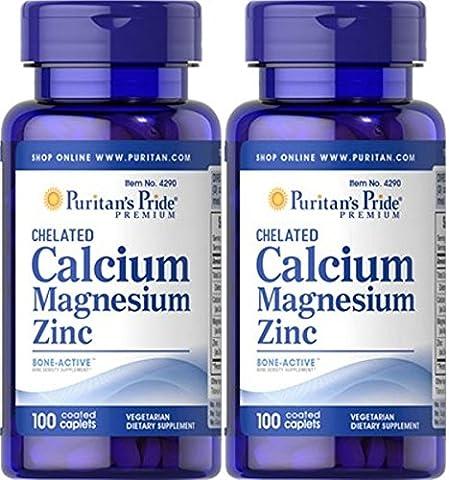 Calcium Magnesium and Zinc 100 Tablets. Puritan's Pride. (Pack