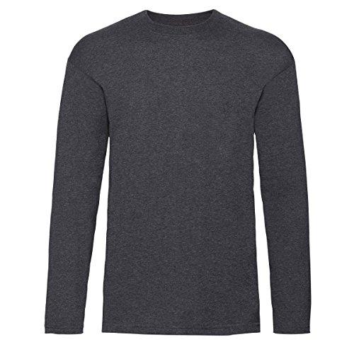 Fruit of the Loom Herren Langarm T-Shirt mit Rundhalsausschnitt (XL) (Dunkelgrau meliert)