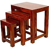 Santosha Decor Set Of 3 Nesting Bedside Table/Wooden Stool/Sofa Table - Indian Sheesham Wood With Special Pu Polish