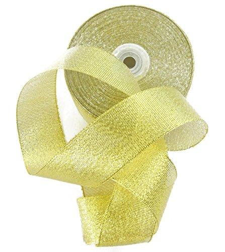 ECHTE drency (TM) High End Metallic Ripsband 3,8cm. Huge 50Yard Rolle mit Geschenk Tüte goldfarben -