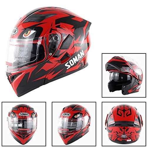 Casco Moto Full Face, Casco A Doppia Lente A Doppia Forma, Rosso, Viola (Quattro Dimensioni),Red,L