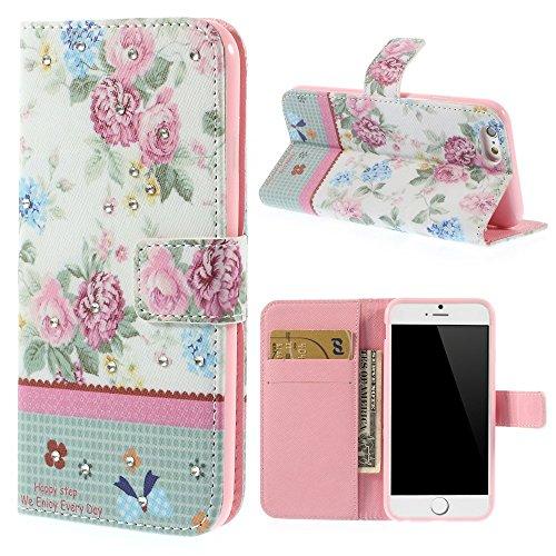 iPhone 6 6S Hülle Klapphülle von NICA, Slim Flip-Case Kunst-Leder Vegan, Phone Etui Schutzhülle, Dünne Vorne Hinten Handytasche Wallet Bumper für Apple iPhone 6S 6 - Pretty Blooming Peony