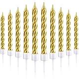 Blulu 50 Pezzi Candele per Torta in Supporto Torta Metallica Candele Cupcake Candele a Forma di Corta Torta per Compleanno Matrimonio Festa Torta Decorazioni (Oro)