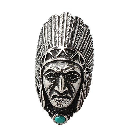PAURO Uomo Acciaio Inossidabile Capo Indiano Annata Tribale Nativo Americano Anello con Turchese Pietra Taglia 25