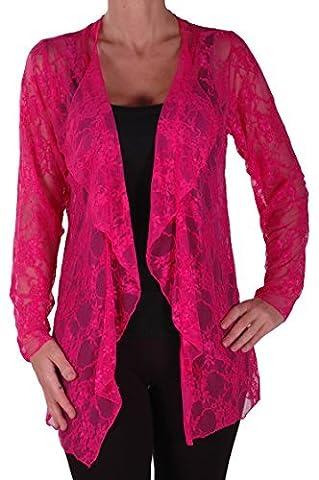 Eyecatch - Gilet cardigan dentelle motif floral - Riya - Femme - Grandes Tailles