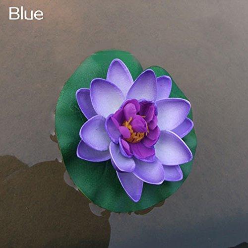 schwimmende Blumen Seerose Blumen, realistische Seerose Pads, lebendige Farbe Rosa Elfenbein Orange Crimson, perfekt für Zuhause Patio Teich Pool Aquarium Hochzeit Party Decor Blue ()