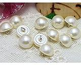 10 Perle weiß Bead Gap Half Ball Dome Runde Hochzeit Kleid Knöpfe 10 mm
