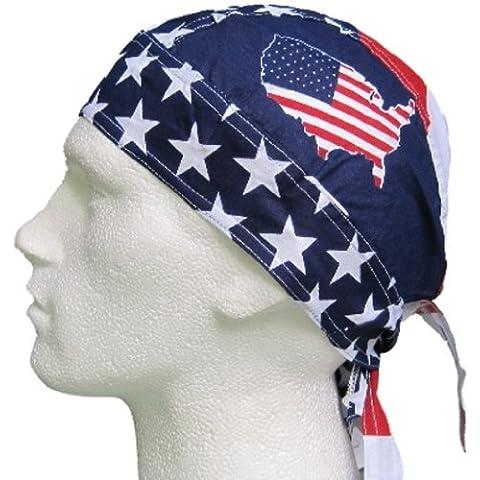 Bandana pañuelo para la cabeza pre atada USA barras y estrellas de la bandera
