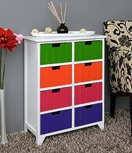 kommode in wei schrank flur bad k chen kinderzimmer regal mit 8 poppig bunten schubladen in. Black Bedroom Furniture Sets. Home Design Ideas