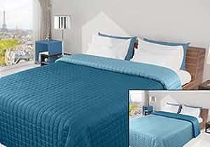 220x240 türkis petrol malachit blau hellblau Tagesdecke Bettüberwurf Steppbettüberwurf Steppung zweiseitig Eva