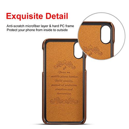 Apple iPhone X Hülle mit Kartenhalter, 2 Kreditkarten-ID-Kartensteckplätze, Ultra-dünner schützender Telefonkasten für iPhone X - Grau Braun