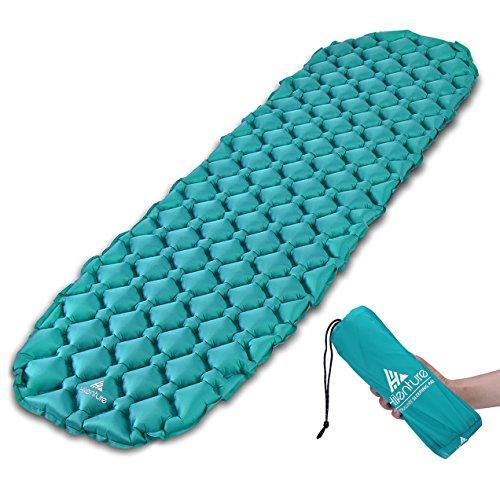 Hikenture Camping Isomatte Kleines Packmaß Ultraleichte Aufblasbare Isomatte - Sleeping Pad für Camping, Reise, Outdoor, Wandern, Strand (Türkisblau)