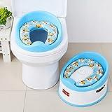 Baby Kleinkind Üben Aufs Töpfchen Zu Gehen Toilettenleiter Sitz Anti-Rutsch Badhocker Multifunktional Toilleten Sitz Mit Deinem Baby Groß Werden (Farbe : Blau)