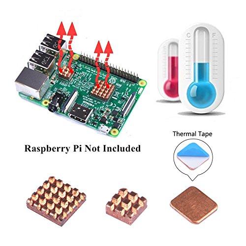 Kühlkörper Set, 3 Stück von Kühlkörper Kupfer Kühlung Kühlkörper mit Wärmeleitkleber Klebeband für Raspberry Pi 3/2 Modell B und Raspberry Pi 3B +(3PCS) ()