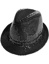 TrAdE Shop Traesio - Cappello Borsalino Paillettes Nero Spettacolo TEATRO  Paillette Uomo Donna 110a1887ff7c