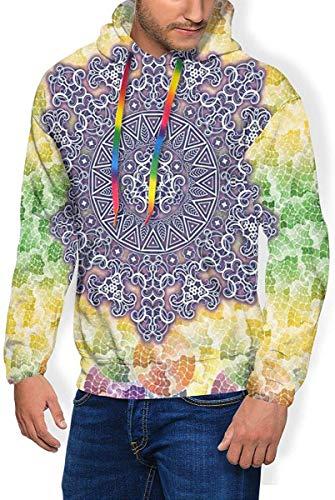 NE Sudadera con Capucha para Hombre Espesar Sudadera de Pelusa, Símbolo étnico Tribal Antiguo Mandala Cultura Oriental Cosmos Ilustración Digital