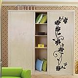 Colourful World Le récent protection de l'environnement Classic Black Fleur de vigne stickers muraux amovibles stickers muraux pour le salon et la décoration de la chambre
