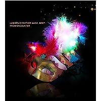 VPlus - Máscara de plumas brillantes, LED, colorida, para disfraz, fiesta, Halloween, Navidad, decoración, color almacenado