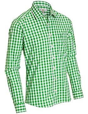 Almsach Herren Slim Fit Trachten Hemd HE173 apfelgrün
