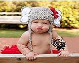 Baby-Outfit für Neugeborene, gehäkelt, ideal als Foto-Requisite, für Jungen und Mädchen geeignet (Elefant)