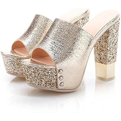 Estate Super pesce grosso pantofole heel alta moda/Impermeabile glitter piattaforma scarpe da donna