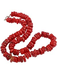 Diseño floral de color rojo Coral collar con colgante en forma 47 cm con cierre de broche con forma de pinza - presentada en estuche detalle caja de regalo