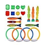 19pcs Immersioni Giocattoli Subacquea Nuoto Immersione Piscina Giocattolo Immersione Set con Anelli subacquei Torpedo Tesori Regalo Impermeabile Immersione Dive Training per Bambini Immersioni