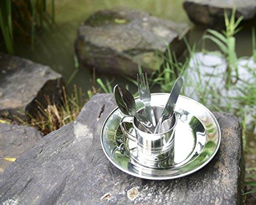 Outdoor freakz – Vajilla de acero inoxidable: Plato + taza + Cubiertos + botellas de/Abrelatas 3