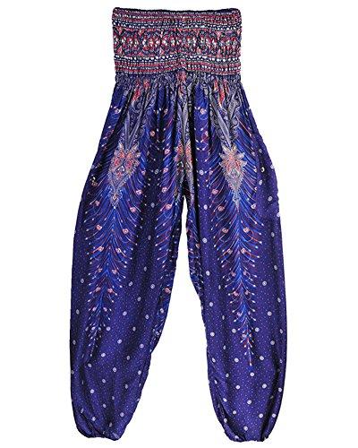 Donne Bloomers Pallone Pantaloni Yoga Aladdin Smocked Waist Boho Harem Pantaloni Lago Blu Taglia Unica Blu Viola