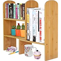 Woodluv Bamboo Desktop Expandable Organizer Stand Bookshelf Display Storage for Office & Home