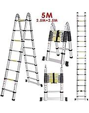 EASYEKART 5 mtr / 16.5 ft Folding/Telescopic Ladder for Home, Office, Warehouse and Multipurpose use