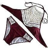 HLHN Bikini Brazilian Style Gepolsterte Spitze High Waist Push Up Badeanzug Bademode (Weinrot, L / 38)