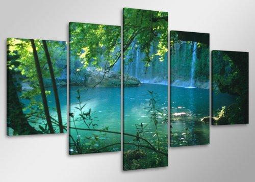 Quadro su tela cascata 100 x 50 cm 5 tele modello nr xxl 6408. i quadri sono montati su telai di vero legno. stampa artistica intelaiata e pronta da appendere