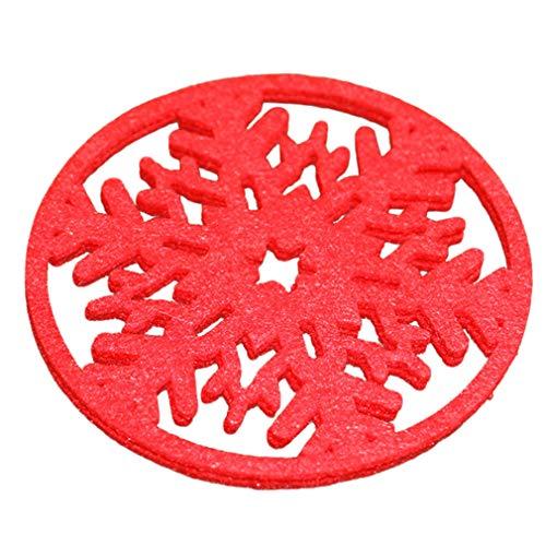 kemai Weihnachten Schneeflocke Geformte Coaster Matte Rotwein Tee Kaffeetasse Schüssel Pad Halter Tisch Tischset Dekor Geschenk, rot (Kind Trinken Coaster)