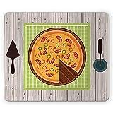 ELIST 25X30cm,Tappetino per Mouse, Illustrazione di Stile del Fumetto di Pizza sulla tavola di Legno con Utensili, rettangolo Mousepad di Gomma Antiscivolo