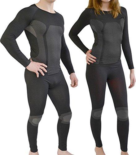Sport Funktionswäsche Garnitur (Hose + Hemd) für Damen und Herren - Ski Unterwäsche mit Elasthan von normani® Farbe Schwarz/Grau Größe S/M