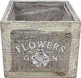 Küchengarten: Pflanzgefäß für Kräuter & Topfpflanzen aus Holz im Schubladen Design, 12 x 12 x 10 cm, Vintage Look