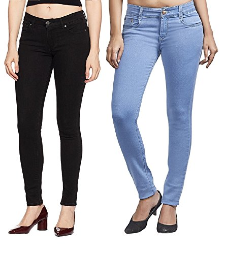 Adbucks Silky Cotton Lycra Stretchable Womens Jeans (Combo of 2) (38, Icyblue+Black)