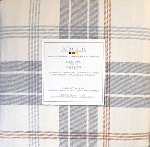 Dormisette Germany Bedding 3-teiliges Bettwäsche-Set für King-Size-Bett, Flanell, Grau und Braun, kariert auf cremefarbenem Hintergrund -