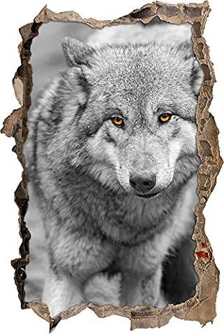 Pixxprint 3D_WD_S4909_62x42 schleichender Wolf Wanddurchbruch 3D Wandtattoo, Vinyl, schwarz / weiß, 62 x 42 x 0,02 (Usa Zu Weihnachten)