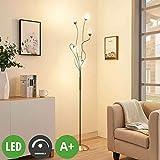 Lampenwelt LED Stehlampe 'Deyan' dimmbar (Modern) in Alu aus Metall u.a. für Wohnzimmer & Esszimmer (5 flammig, A+, inkl. Leuchtmittel) - LED-Stehleuchte, Floor Lamp, Standleuchte, Wohnzimmerlampe