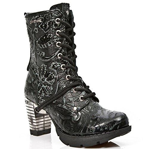 New Rock Womens M.TR001-S24 Vintage Flower Leather Boots Schwarz