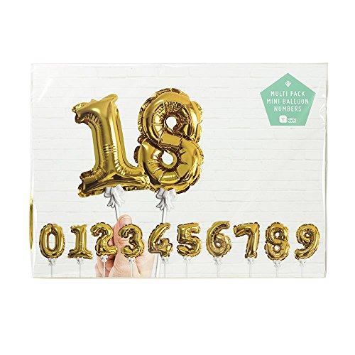 Talking Tables Party Time Goldfolien-Zahlenballons zur Kuchendekoration für Geburtstage und Jubiläumsfeiern (12 Stück)