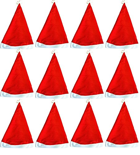 OTE Pack Of 12 Traditional Red&White Christmas Santa Claus' Cap Xmas Hat for Adults and Children