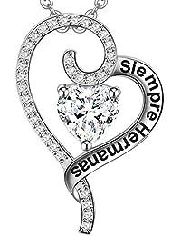 e058d8d80c4d LOVORDS Collar Mujer Grabado Plata de Ley 925 Colgante Corazón Regalo Hija  Hermana