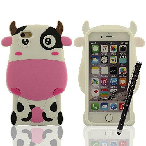 Niedlich Wenig Kuh Aussehen - Silikon Schutzhülle iPhone 6 6S Hülle, Weich Handy Tasche für iPhone 6 6S (4.7 Zoll) + Hübsch Stylus Pen, Premium-Schutz Anti-Shock A