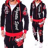 Unbekannt Herren Jogging-Anzug Trainingsanzug Fitness Sport Joggen Streetwear Hose und Jacke (Schwarz-Rot (A.532), M)