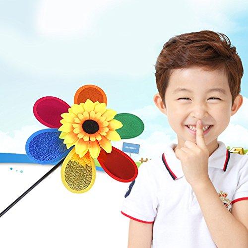 (Tookie Sonnenblume Windmühle, bunte Wind Spinner Whirligig Rad für Kinder Indoor Outdoor Garden Yard Spiel mit Spaß Spielzeug)