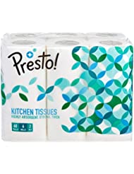 Amazon Brand - Presto! 2 Ply Kitchen Tissue/Towel Paper Roll - 6 Rolls (60 Pulls Per Roll)